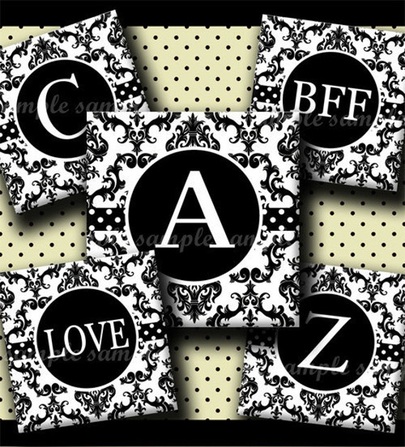 INSTANT DOWNLOAD Black and White Damask Alphabet (259) 4x6 Digital Collage Sheet 1 inch square images ( 2 pages)  glass tiles resin pendants
