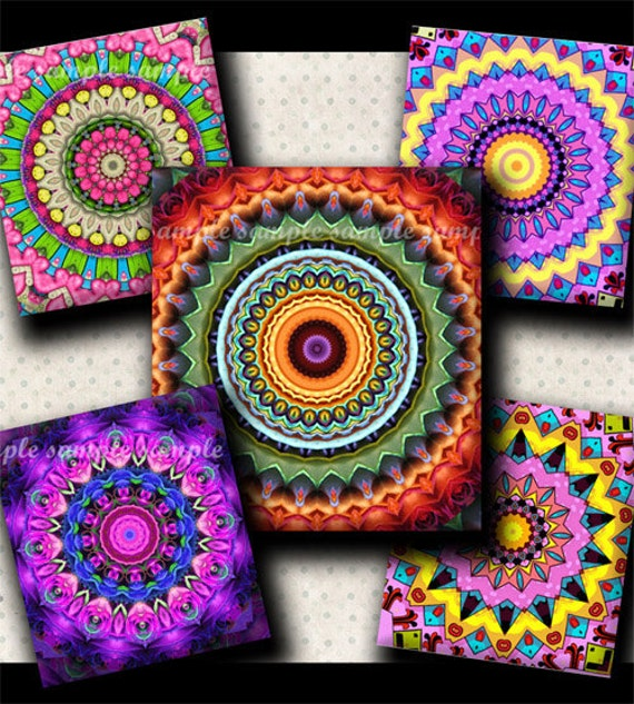 INSTANT DOWNLOAD Mandalas (368) 4x6 Digital Collage Sheet ( 0.75 inch x 0.83 inch) scrabble tile images for scrabble tiles resin pendants