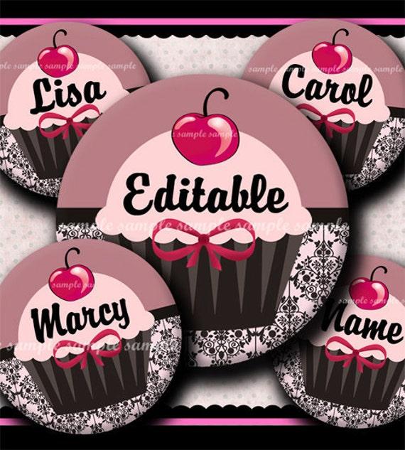 INSTANT DOWNLOAD Editable JPG Parisian Cupcake (376) 4x6 Bottle Cap Images Digital Collage Sheet for bottlecaps hair bows  bottlecap images