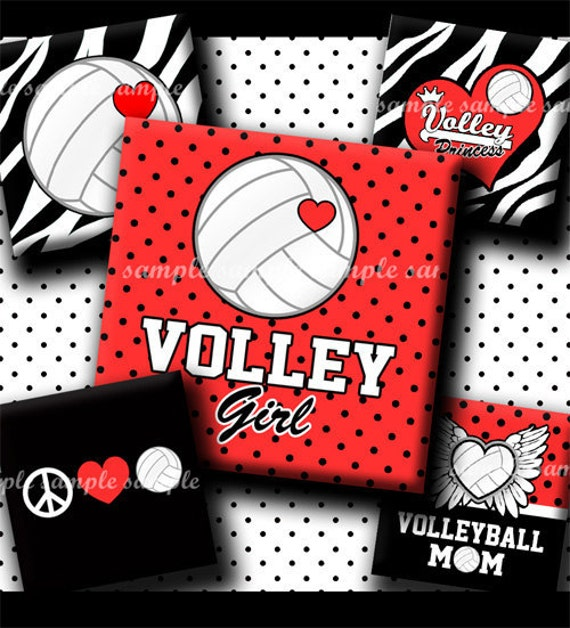 INSTANT DOWNLOAD Volleyball Rocks (442) 4x6 Digital Collage Sheet 1 inch square images for glass tiles resin pendants magnets stickers ..