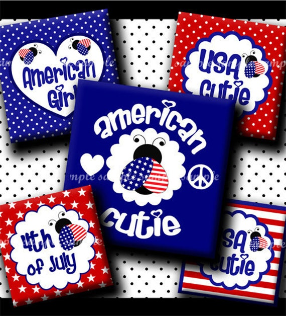 INSTANT DOWNLOAD New Patriotic 4th of July Lady Bug (459) 4x6 Digital Collage Sheet 1 inch square images for glass tiles resin pendants