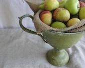 Vintage metal  planter, green metal urn, trophy cup planter