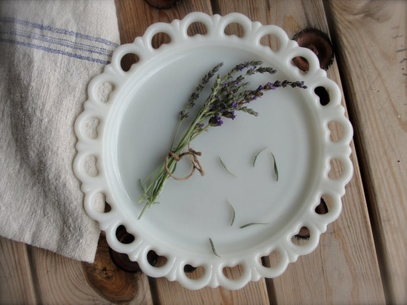 vintage milk glass platter white milk glass serving platter or cake plate
