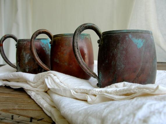 Vintage Solid Copper Mugs Rustic Copper Cups West Bend