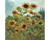 Original floral acrylic painting Field of Golden Yellow Sunflowers 10x8 inches