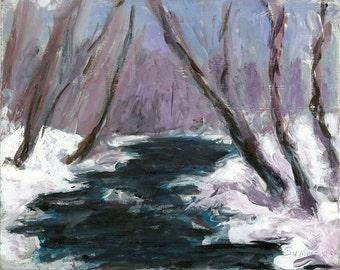 Dark River Snowscape Original acrylic winter landscape painting 8x10