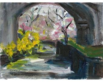 Branch Brook Park Bridge forsythia cherry trees Original acrylic landscape painting 6x8