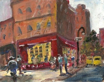 Bus Stop Cafe Greenwich Village New York Original acrylic painting 8x10