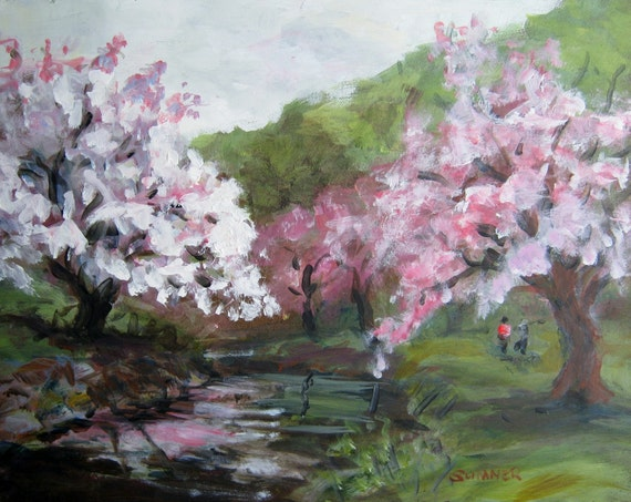Spring Cherry Blossoms original acrylic landscape painting 11x14