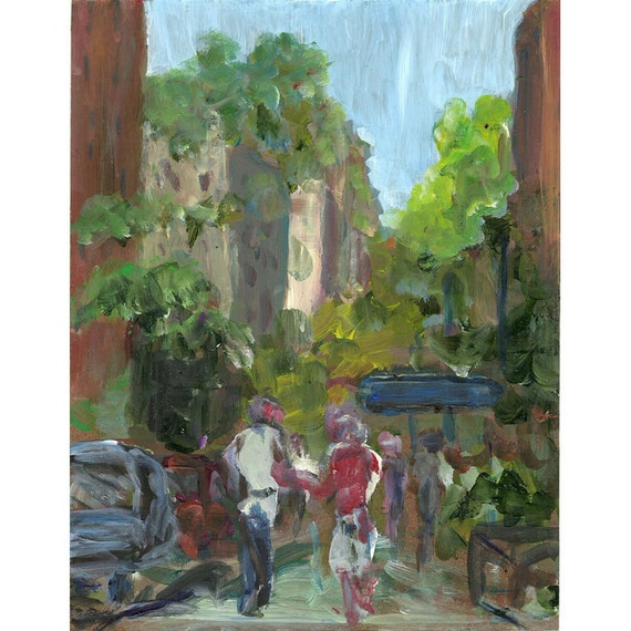 New York original painting 10th Street and Fifth Avenue10x8
