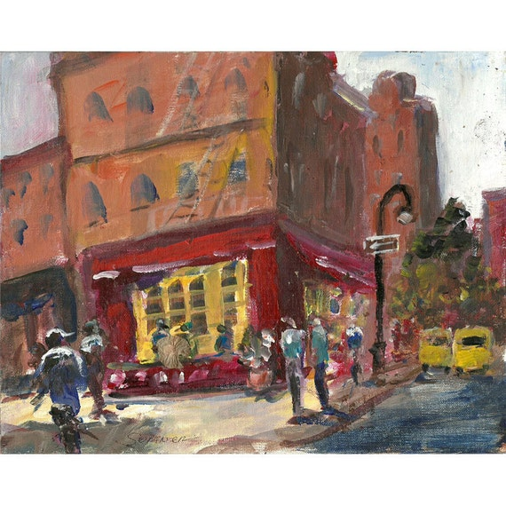 Original impressionistic acrylic cityscape painting 8x10 Cafe People Greenwich Village New York painting
