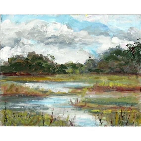 Original acrylic landscape painting Marsh Trees Clouds 8x10