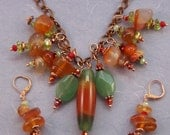 Apple Green Agate and Red Carnelian Copper Charm Link Necklace/Earrings on the house