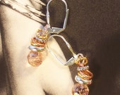 Blush Pink Crystal/Mixed Metal Dangle Earrings ~ Gold, Silver and Copper