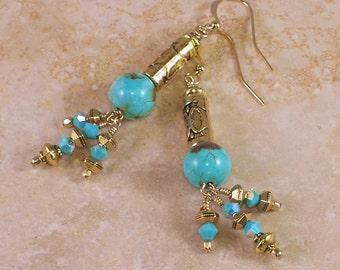 Shiraz Turquoise ~  Antique gold Swarovski Crystal Mediterranean Dangle Earrings