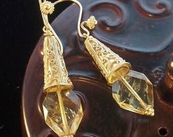 Old World Byzantine style ~ 24kt Vermeil Citrine Earrings