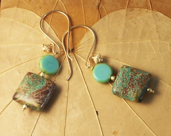 Turquoise Stone Earrings Unearthed ~ Turquoise / Gold Vermeil