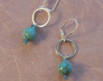Turquoise and aqua blue  silver hoop crystal Earrings