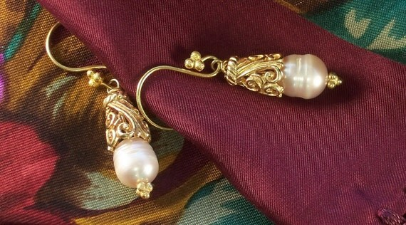 Girl with the Pearl Earrings - Gold Vermeil Filigree - Wedding Collection