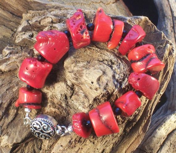 Red Coral Reef  -  Silver & Black Spinel Bracelet