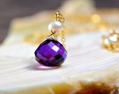 Amethyst, Pearl and Gold Necklace