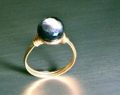 Gray Moonstone and Gold Ring