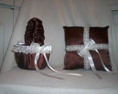 Chocolate Brown Satin With White Beaded Lace Trim Flower Girl Basket And Ring Bearer Pillow