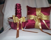Candy Apple Red Satin With Gold Lace Trim Flower Girl Basket And Ring Bearer Pillow