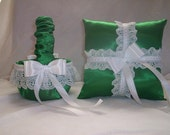 Kelly Green Satin With White Lace Trim And Ribbons  Flower Girl Basket And Ring Bearer set 1