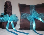 Chocolate Brown Satin With Turquoise Blue Ribbon Trim Flower Girl Basket And Ring Bearer Pillow
