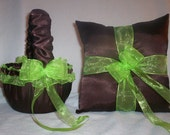 Chocolate Brown Satin With Lime Green Ribbon Trim Flower Girl Basket And Ring Bearer Pillow