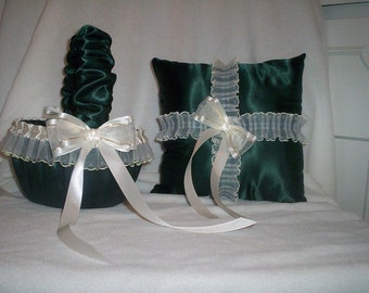 Hunter Green Satin With Ivory Cream Lace Trim Flower Girl Basket And Ring Bearer Pillow