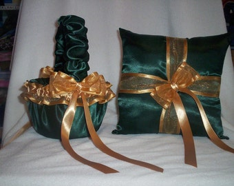 Hunter Green Satin With Gold Ribbon Trim Flower Girl Basket And Ring Bearer Pillow