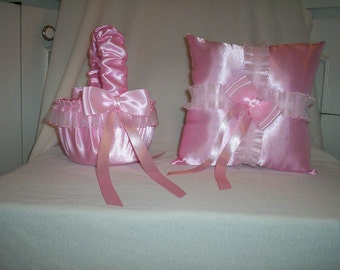 Light Pink Satin With Light Pink Lace Trim Flower Girl Basket And Ring Bearer Pillow