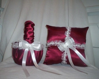 Candy Apple Red Satin With White Lace Trim Flower Girl Basket And Ring Bearer Pillow