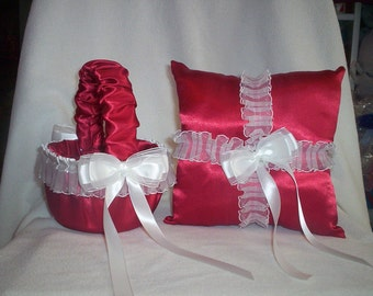 Red Satin With White Sheer Lace Trim Flower Girl Basket And Ring Bearer Pillow Set 5