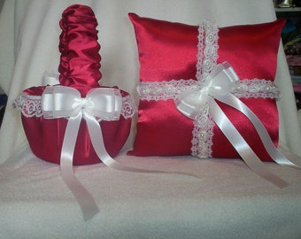 Red Satin With White Beaded Lace Trim  Flower Girl Basket And Ring Bearer Pillow Set 3