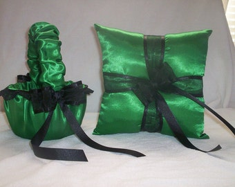 Kelly Green Satin With Black Lace Trim Flower Girl Basket And Ring Bearer   2