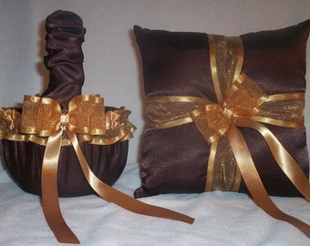 Chocolate Brown Satin With Gold Ribbon Trim Flower Girl Basket And Ring Bearer Pillow