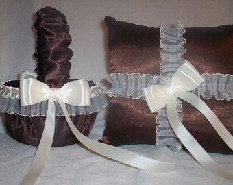 Chocolate Brown Satin With Ivory Cream Lace Trim Flower Girl Basket And Ring Bearer Pillow 2