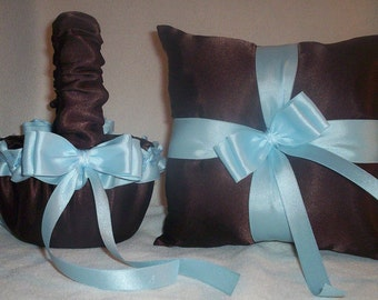 Chocolate Brown Satin With Light Blue / Baby Blue Ribbon Trim Flower Girl Basket And Ring Bearer Pillow 2