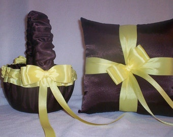 Chocolate Brown Satin With Light yellow Ribbon Trim Flower Girl Basket And Ring Bearer Pillow