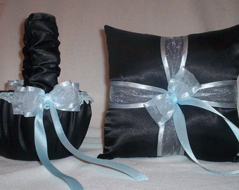 Black Satin  With Light Blue Trim Flower Girl Basket And Ring Bearer Pillow 2