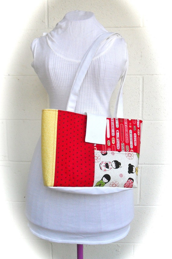 Red and Yellow Kokeshi Doll patchwork Tote Bag