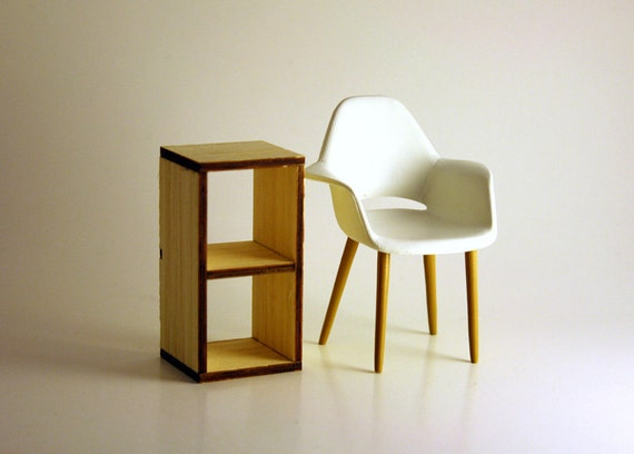 """Modern Dollhouse Miniature Bamboo Bookcase """"Expeditly 2x1"""" Storage Unit in 1:12, One Inch Scale"""
