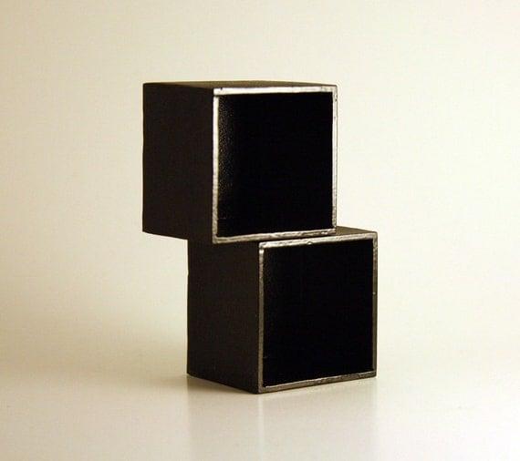 modern miniature dollhouse modular cubes black stackable. Black Bedroom Furniture Sets. Home Design Ideas