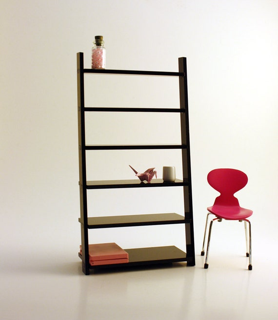 Miniature Modern Wall Leaning Bookcase Black Acrylic In 1 12