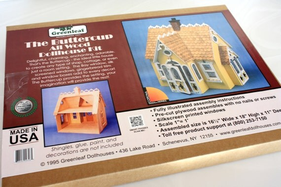 """Wooden Dollhouse Kit, """"Buttercup"""" by Greenleaf Company"""