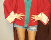 KIMONO Sleeve ColorBLock Silky Soft DRAMAtic Lightweight Open Cardigan Jacket bed jacket