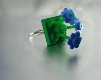 Blue Bouquet LEGO Ring with Sterling Silver Band